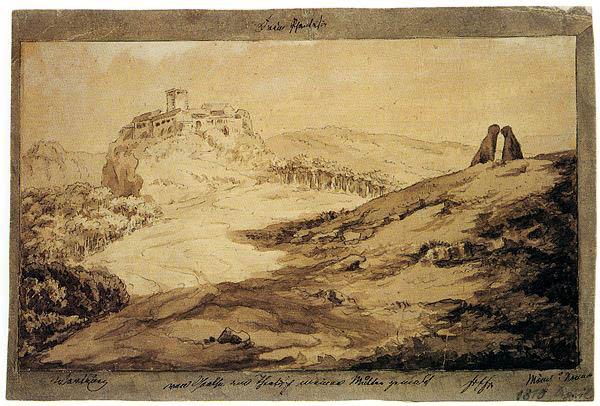 Goethe,_Wartburg_mit_Mönch_und_Nonne,_14.12.1807