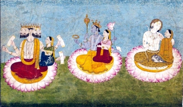 Brahma,_Vishnu_and_Shiva_seated_on_lotuses_with_their_consorts,_ca1770