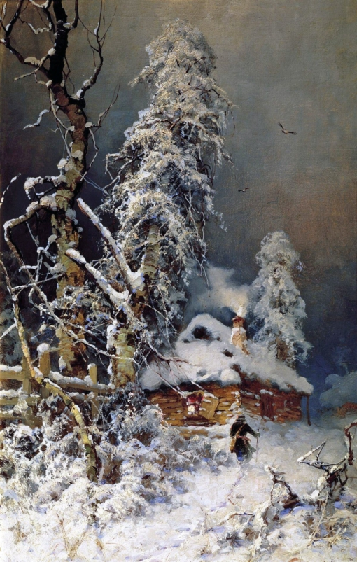 hiver yuly-klever-a-winter-landscape-with-an-izba-1880s-90s