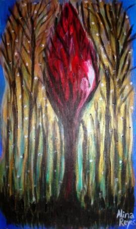 l'arbre de vie dans la foret la nuit,