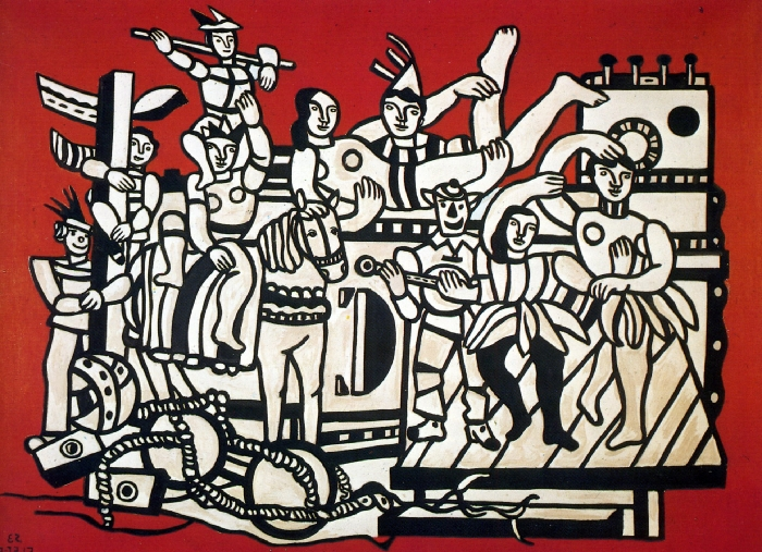 Fernand_LEGER_Muse_e_imaginaire_La_grande_parade_sur_fond_rouge_1953