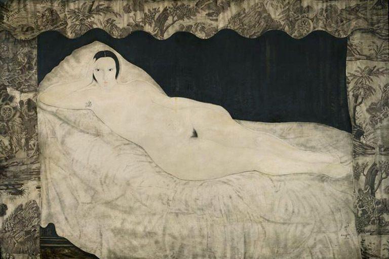 Nu couché à la toile de Jouy - Foujita