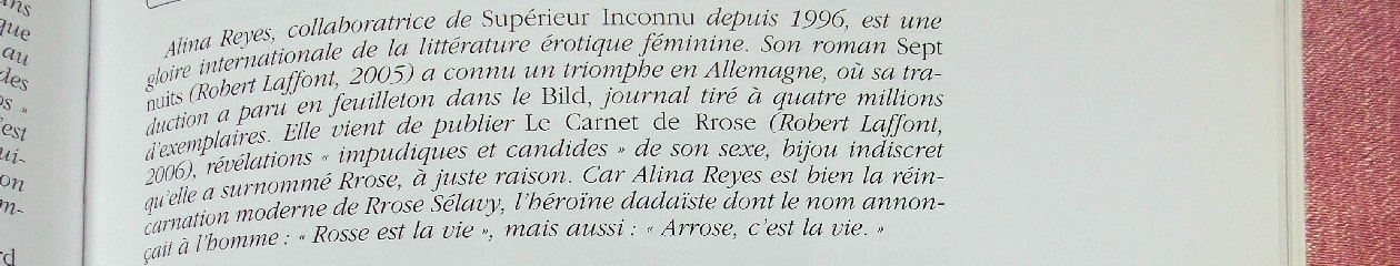 Alina Reyes, le Journal de Rrose