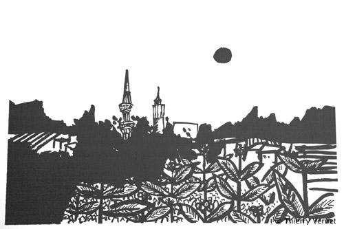 Prilep dessiné lors de ce voyage par Thierry Vernet