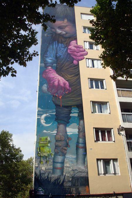 fresque de Bom.K boulevard Vincent Auriol, métro Nationale
