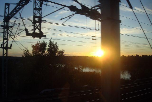 coucher de soleil vu du rer