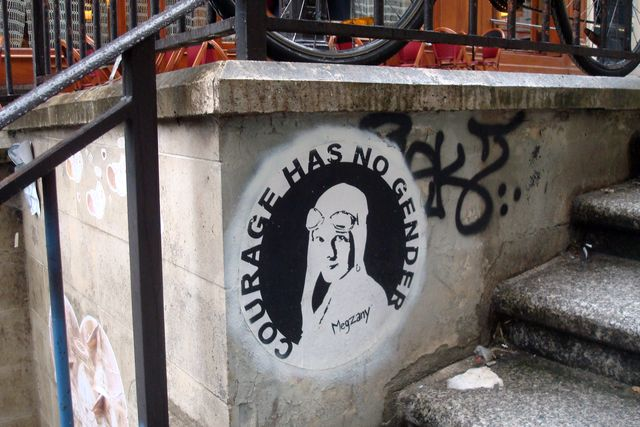 street art en face de la librairie à Paris 5e, cette semaine, photo Alina Reyes