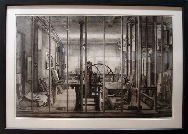 """Erik Desmazières, """"Atelier René Tazé VI"""", 1993. Eau-forte avec roulette et aquatinte, 65,5x100,5 cm"""