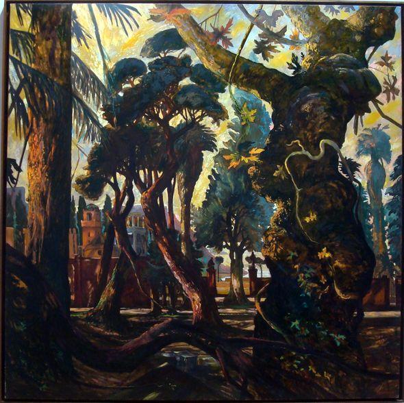 """Gérard Diaz, """"Le parc abandonné"""", 1991. Huile sur toile, 194x195 cm"""