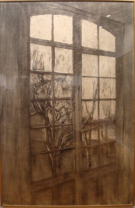 """Gilles Seguela, """"Arbres derrière la fenêtre"""", 2003. Fusain sur papier, 185x125 cm"""