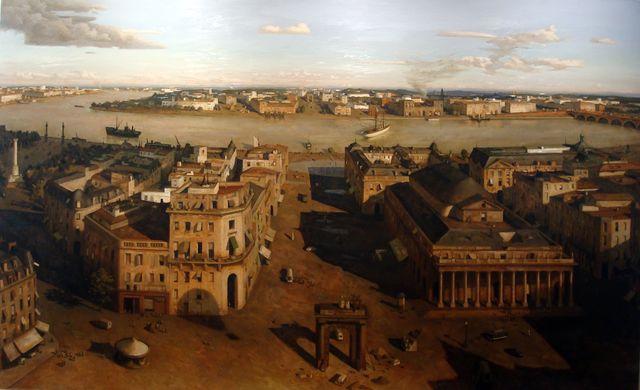"""Pascal Vinardel, """"Les portes du fleuve, 2010. Huile sur toile, 200x324 (commande de la Chambre de commerce de Bordeaux)"""