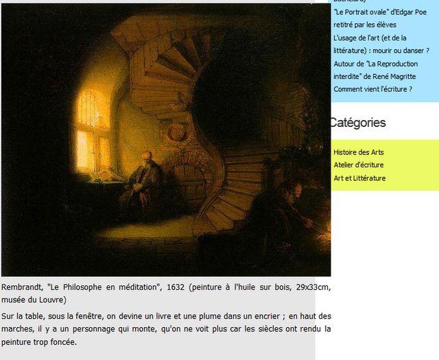 capture d'écran de mon blog pour les élèves