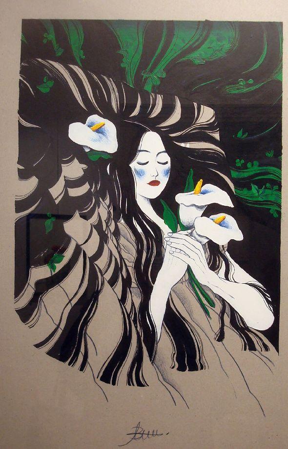 Antoine Bonnet, Rose d'épine. Acrylique, encre de Chine et crayon de couleur, 40x60