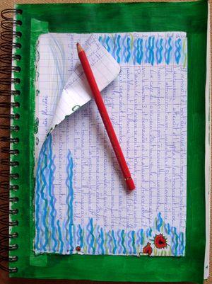 """""""au milieu coule une rivière""""... et ces taches rouges sur cette page de mon cahier que j'ai coloriée hier"""