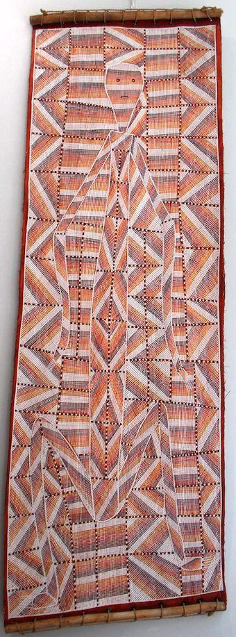 "Deborah Wurrkidj, ""Buluwana at Dilebang"", 12 7x 42 cm, ocres sur écorce"