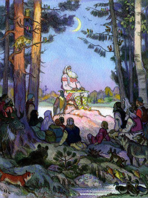 Le barde Vaïnamöinen chantant, illustration de Nikolaï Kochergin. Voir sa galerie d'illustrations du Kalevala ici
