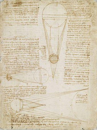 """page du """"Codex de Leicester"""" de Léonard de Vinci"""