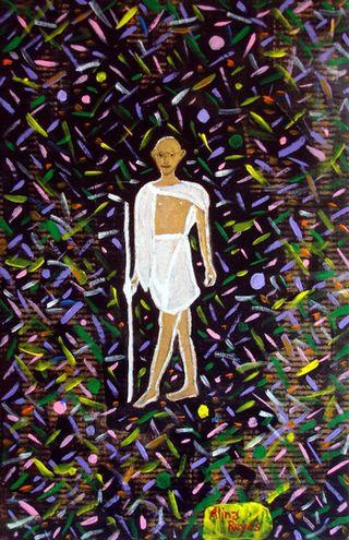 """mon ancien dessin """"Gandhi dans les fluctuations quantiques du vide"""""""