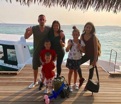 Franck Ribéry avec sa femme Wahiba et leurs enfants