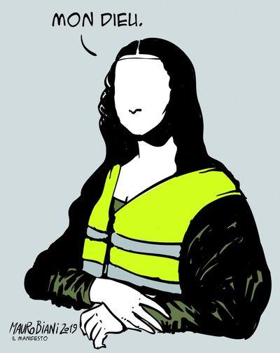 """""""Gioconda, Italia-Francia-Gilets jaunes"""", dessin de Mauro Biani pour Il Manifesto"""