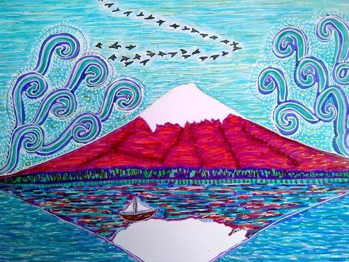 Mon dessin du Fujiyama, recolorié ces jours-ci