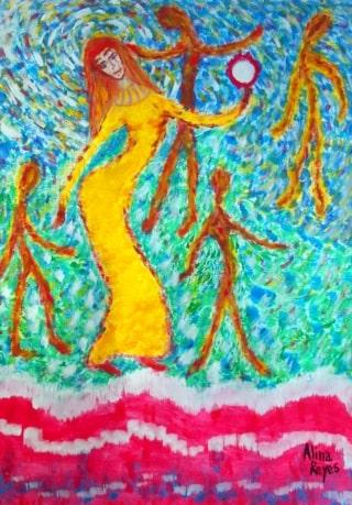 Myriam et les siens, dansant après le passage de la mer Rouge