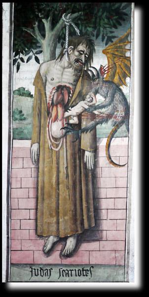 Le suicide de Judas, fresque de Canavesio à la chapelle Notre-Dame-des-Fontaines de La Brigue
