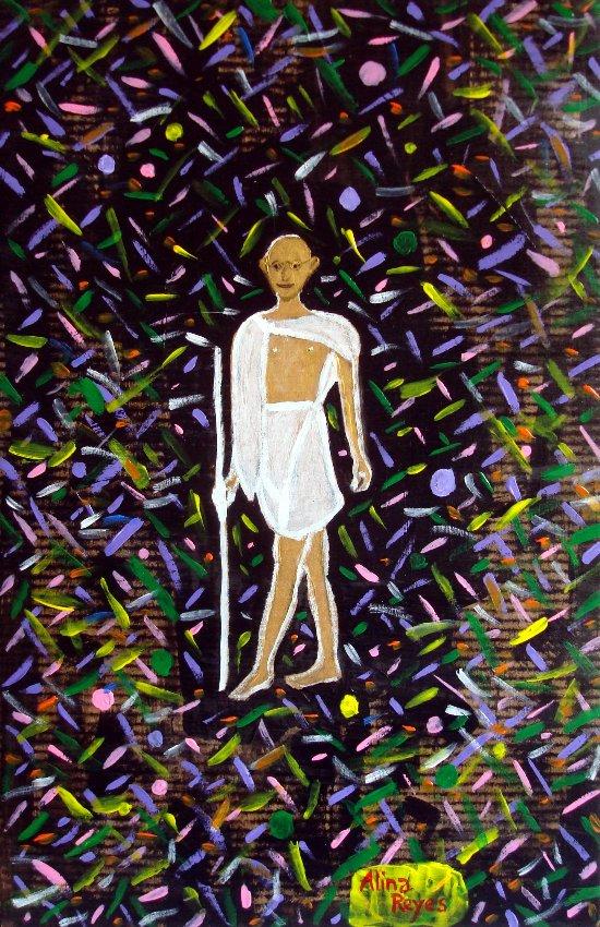 Gandhi dans les fluctuations quantiques du vide (sur carton ondulé)