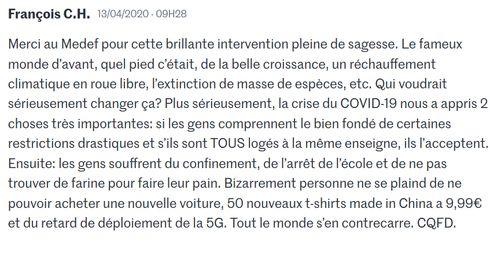 """un commentaire dans """"Le Monde"""" ce matin"""