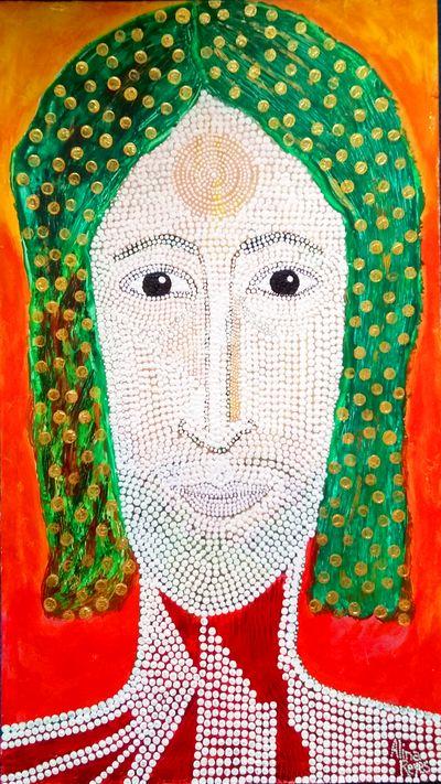 """""""Christ aux cheveux verts. Ceci est mon corps, ceci est mon sang"""" Acrylique sur bois (isorel) 74x42 cm"""
