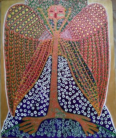 """""""Fertilité"""", acrylique sur bois, 42 x 50 cm"""
