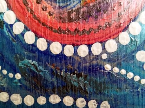 Détail de ma peinture en cours (acrylique sur bois)