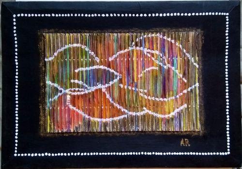 """""""Danse des couleurs"""", gouache et acrylique sur deux cartons collés, 23x33cm"""
