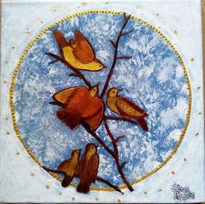 """""""Oiseaux"""", acrylique sur toile 30x30 cm"""
