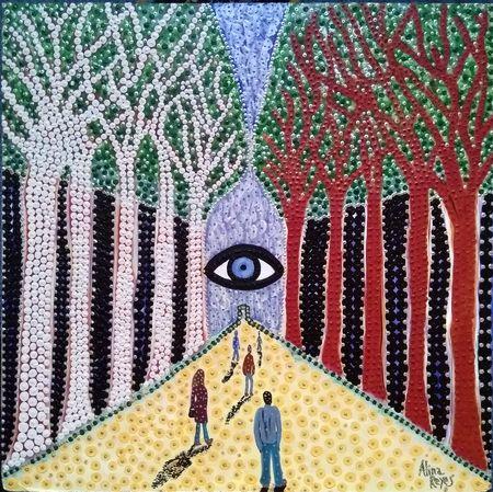 """""""Au milieu du chemin de notre vie"""", acrylique sur bois, 46x46cm"""