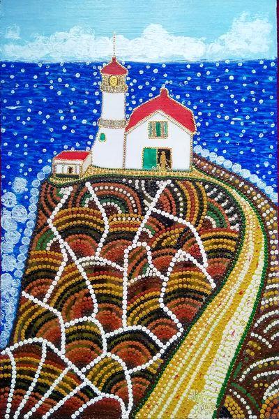 """""""Point Reyes Lighthouse"""", acrylique sur bois, 46x30 cm (d'après le phare du même nom)"""