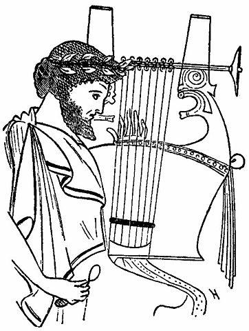 Joueur de cithare sur un vase grec. Encyclopedia Britannica (wikimedia)