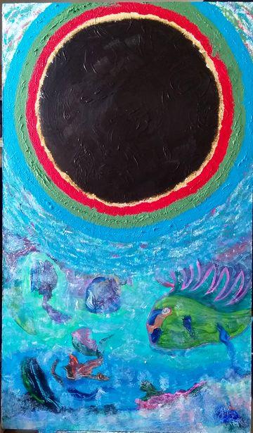 """""""Cosmic Ocean"""", acrylique sur bois 72x42 cm"""