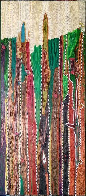 """""""Wood Spirit"""", acrylique sur bois 40x89 cm, peinture que j'ai terminée aujourd'hui"""