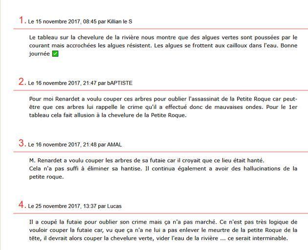 """réponses de mes élèves à des questions sur """"La petite Roque"""", posées sur le blog que j'avais créé pour eux"""
