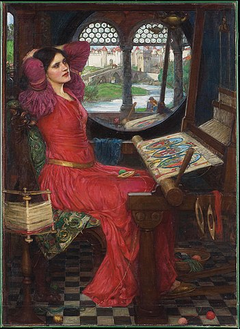 "John William Waterhouse, ""I Am Half-Sick of Shadows, Said the Lady of Shalott"" (wikimedia)"