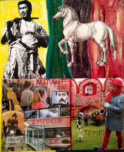 """""""Autant en emporte le temps"""", collage et peinture sur papier fort 17x20 cm"""