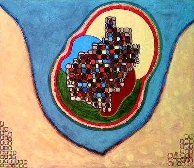 """""""Tetris Egg"""", acrylique, technique mixte sur bois 56 x 48 cm"""
