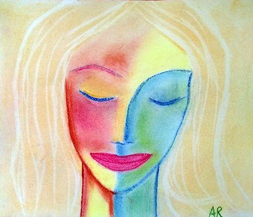 """""""Méditation"""", pastel inspiré d'un dessin, non signé, vu sur un mur dans la rue l'autre jour"""