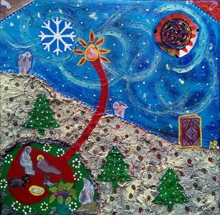 """""""Nativité"""", technique mixte sur toile 30x30 cm"""
