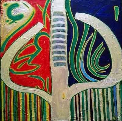 """""""Tree of Life"""", technique mixte sur toile 40x40 cm"""