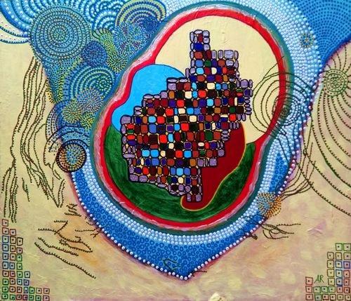 """""""Village"""", acrylique sur bois 56x48 cm"""