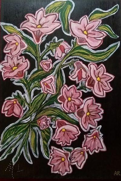 """""""Bouquet final"""", technique mixte sur bois 48x33 cm. J'ai repeint la peinture ci-dessous, que quelqu'un avait jetée dehors et que j'ai récupérée"""
