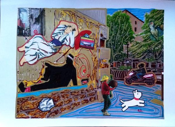 """""""Dans la rue"""" Collage sur papier A4"""