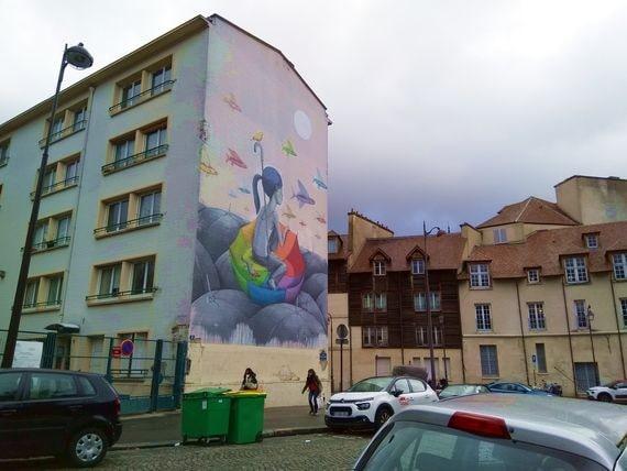 J'ai photographié encore cette fresque de Seth, face au château de la Reine Blanche dans le 13e arrondissement, car je ne m'en lasse pas